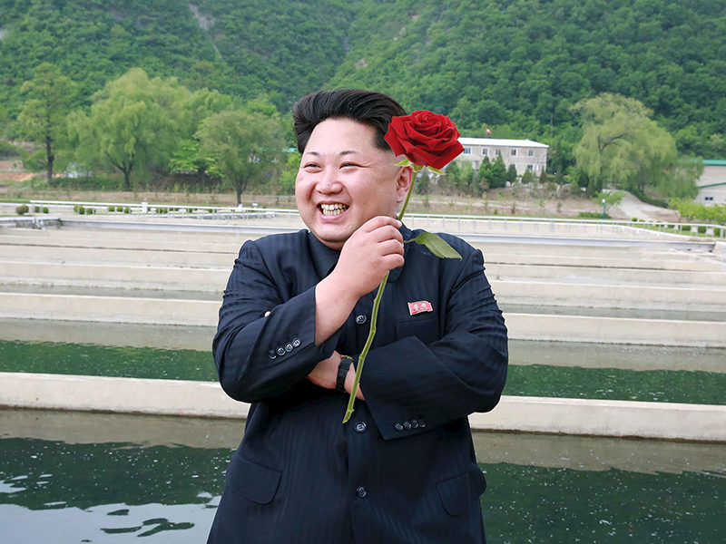 Handout photo of North Korean leader Kim Jong Un giving field guidance to the Sinchang Fish Farm under KPA Unit 810