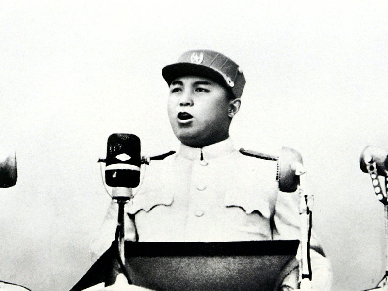 KIM IL-SUNG, FOUNDER OF NORTH KOREA, SPEAKS AT A MASS RALLY IN PYONGYANG IN THIS JULY 1953 PHOTO